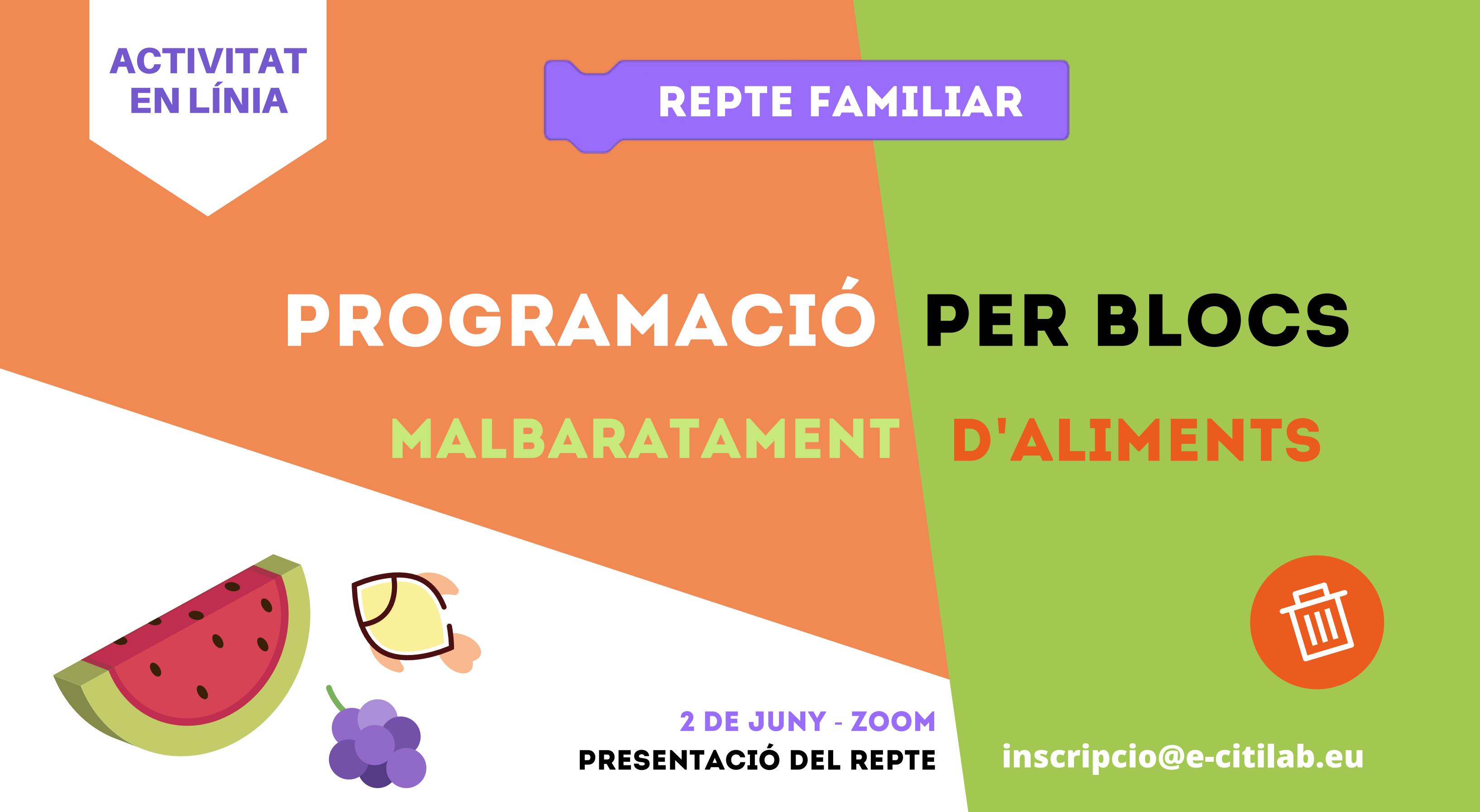Citilab Llança Un Repte Per A Famílies: Aquest Mes De Juny, Presenteu Un Projecte De Programació Per Combatre El Malbaratament D'aliments!